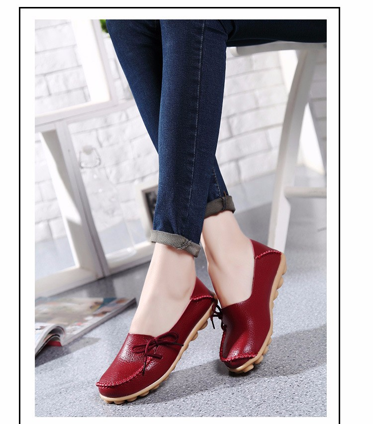 2016 New Real Leather Woman Flats Moccasins Mother Loafers Lacing Female Driving Casual Shoes In 16 Colors Size 34-44 ST179 (30)