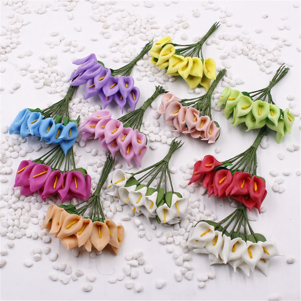 12pcs lot 3cm real touch mini calla lily pe foam for Artificial flowers for wedding decoration