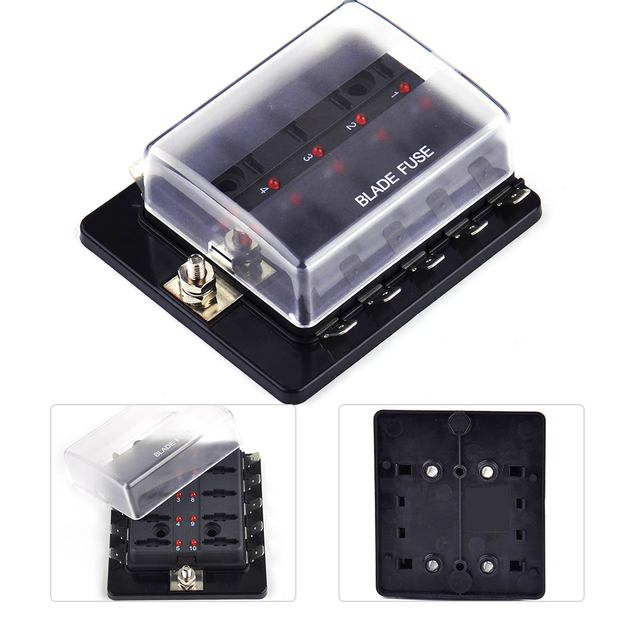 beler new 10 way circuit automotive ato fuse box holder with led warning  light fit for boat car for vw ford bmw toyota mazda
