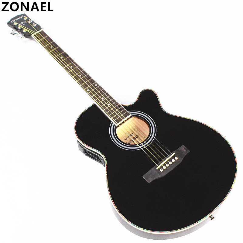 ZONAEL 40 Inch Acoustic Guitar Beginner Entry Student Male And Female Instrument Folk Guitar Ultra Thin Bucket Body With EQ diduo 40 inch 41 acoustic guitar beginner entry student male and female instrument wound guitarra