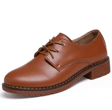2017 printemps Véritable Plate-Forme en cuir Mocassins Femme Confortable Creepers Casual Femmes Plat Chaussures femme Oxford En Cuir chaussures