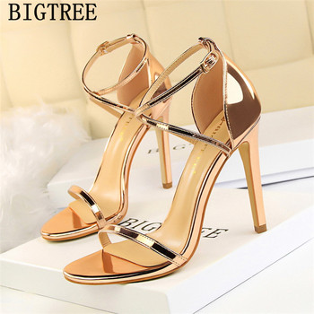 summer shoes patent leather gold sandals bigtree shoes extreme high heels sexy sandals tacones high heels sandals women ayakkabi sandal