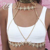 Gold Beach Crop Top 2017 Chic Handmade Shiny Rhinestones Body Chain Bra Sexy Party Bralette Tank