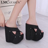 LMCAVASUN Bombas Nightclub Shoes Sexy Sequins Cross Sandal High Sandals 18CM High heeled Slippers Wedges