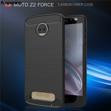 A.spanice For Moto Z2 Force Armor Grade Carbon Fiber Texture Brushed Soft TPU Back Cover For Motorola Moto Z2 Force Case 5.5inch
