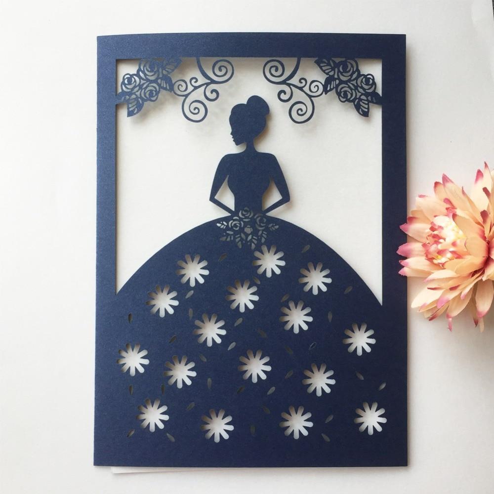 25pcs elegant pretty girl wedding invitations card bridal shower 18th 15th birthday party invitation best wishes card suppliers