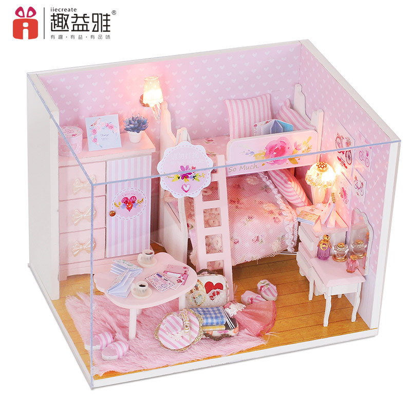 2018 New DIY Dollhouse Educational 3D Wooden Doll House Pink Girl Room LED+Furniture+Cover For Children Lover Gift Birthday Toys