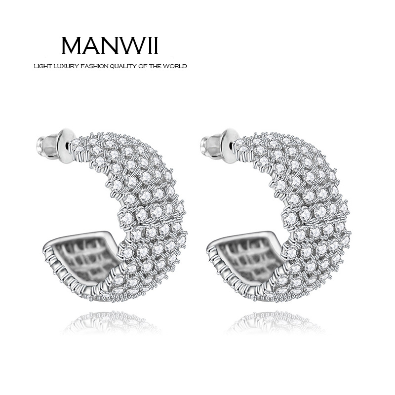 MANWII korea new arrival rhinestone geometric stud earrings personality party jewelry fashion earrings for women AB507