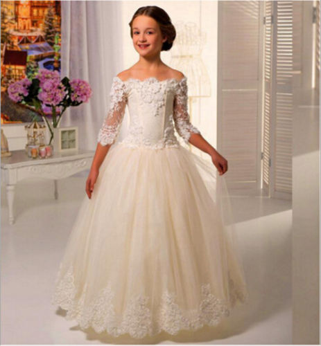 Hot Vintage White Flower Girl Dress Lace Applique Wedding Party Princess Dresses Girl First Communion Dress Wedding Gowns 2016