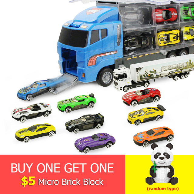 11 Pcs/set Mini 2in1 Diecast Alloy Mobil Kendaraan Mainan Model Mobil Balap Truk Pengangkut dengan Ejeksi & Membawa Fungsi Ulang Tahun hadiah
