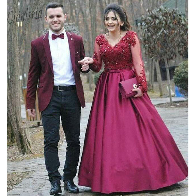 Burgundy Plus Size   Prom     Dresses   2019 A Line V Neck Lace Appliques Beads Long Sleeve Satin Formal Evening Party   Dresses