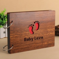 8 Inch Wood Cover Diy Album Handmade Loose-leaf Pasted Photo Album Personalized Baby Love Scrapbooking Sculpture Print Manual
