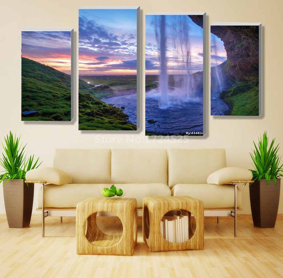 4 Pieces/Set Unframed Modular Waterfall Wall Art Painting Iceland Sunset  Contemporary Art Canvas Prints Wall Picture Living Room In Painting U0026  Calligraphy ...