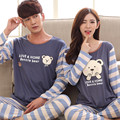 2017 Spring and Autumn new paragraph thin couple couple piece suit home service cartoon bear shy bear long sleeve couple pajamas