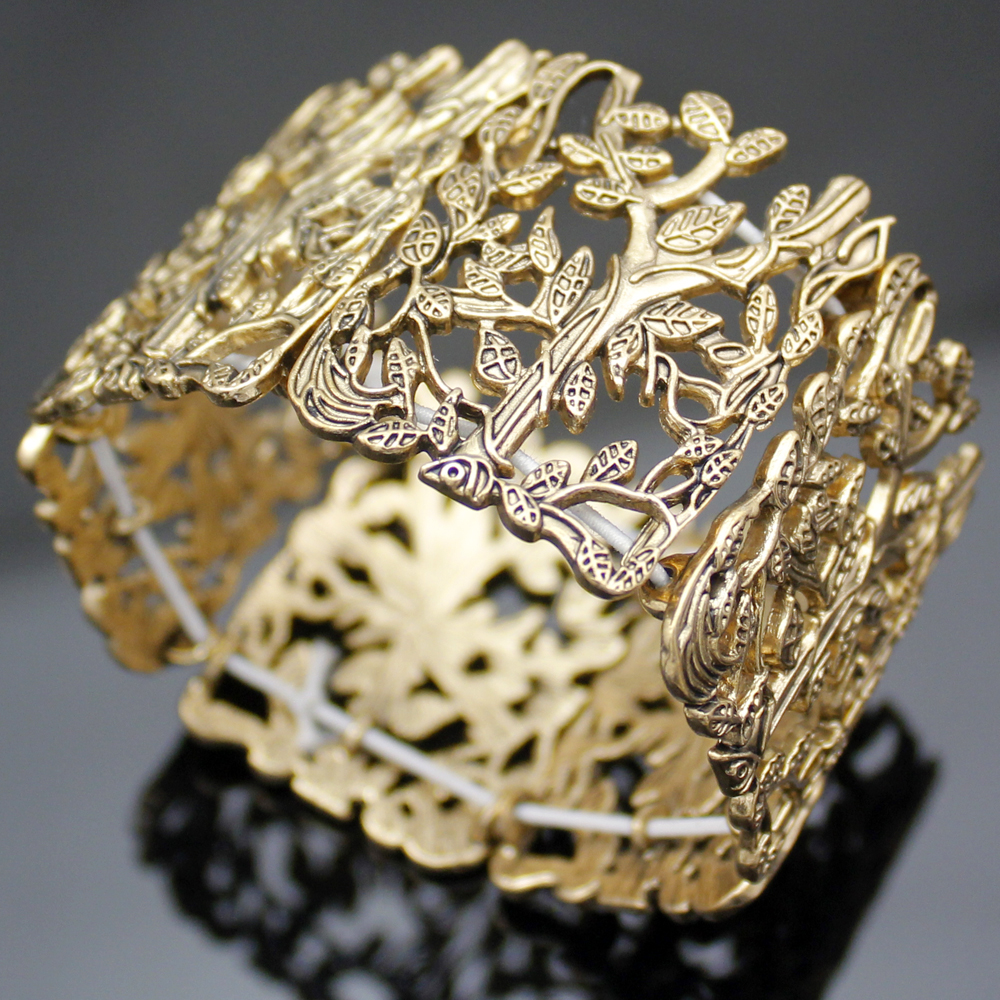 Leaves Bracelet Cuff 24K Matte Gold plated Leaf branches adjustable Turkish jewellery BLZ68A