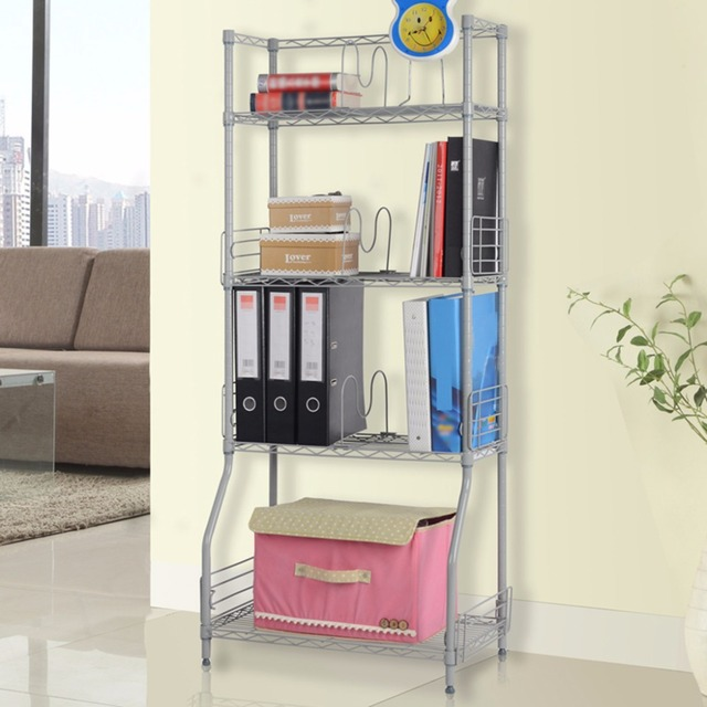 Langria 4 Tier Classic Metal Wire Bookshelf Storage Rack Shelving Unit  Organization Racks For Books