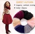 1-11 Years Old Girls 4 Layer Tutu Skirt  Vintage Color Autumn Spring Girls Organza Skirt Tulle DIY Skirt