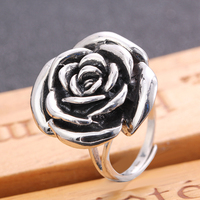 JIASHUNTAI 100% 925 Sterling Silver Rings For Women Rose Flower Design Vintage Silver Jewelry Open Ring For Lover Best Gift