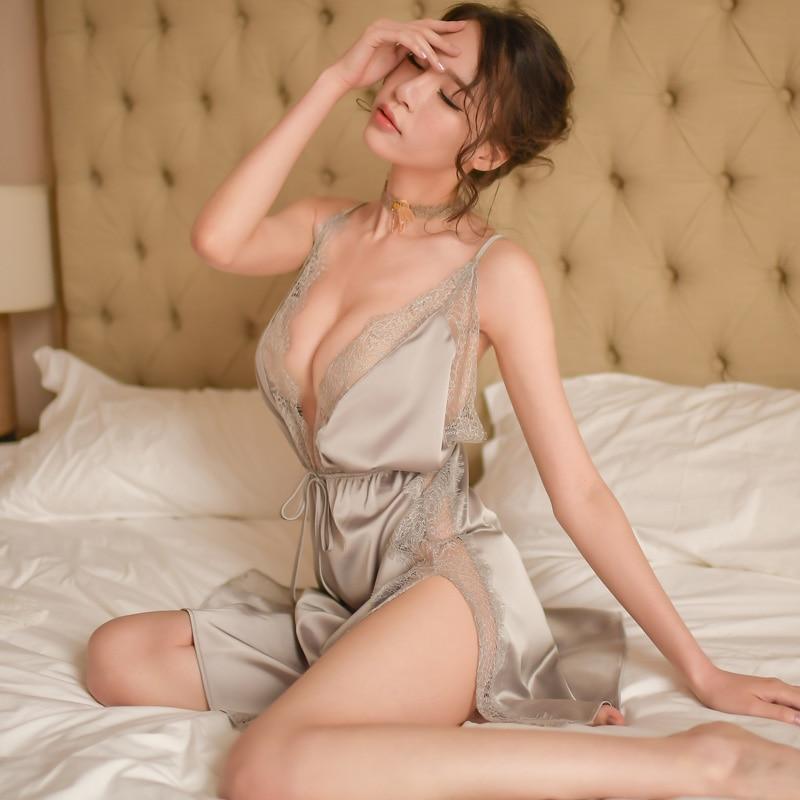 Sleepwear feminino camisola do vintage renda plissada babados malha feminina com decote em v sexy noite vestido lingere sleep wear