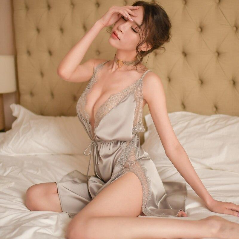 Women Sleepwear Vintage Nightgown Lace Pleated Ruffles Mesh Female V-Neck Sexy Nightdress Night Dress Lingere Sleep Wear