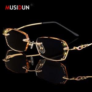 Image 1 - الماس قلص بدون شفة نظارات للقراءة النساء عالية الجودة موضة العلامة التجارية الفاخرة مكافحة الضوء الأزرق طويل النظر سيدة النظارات Q104