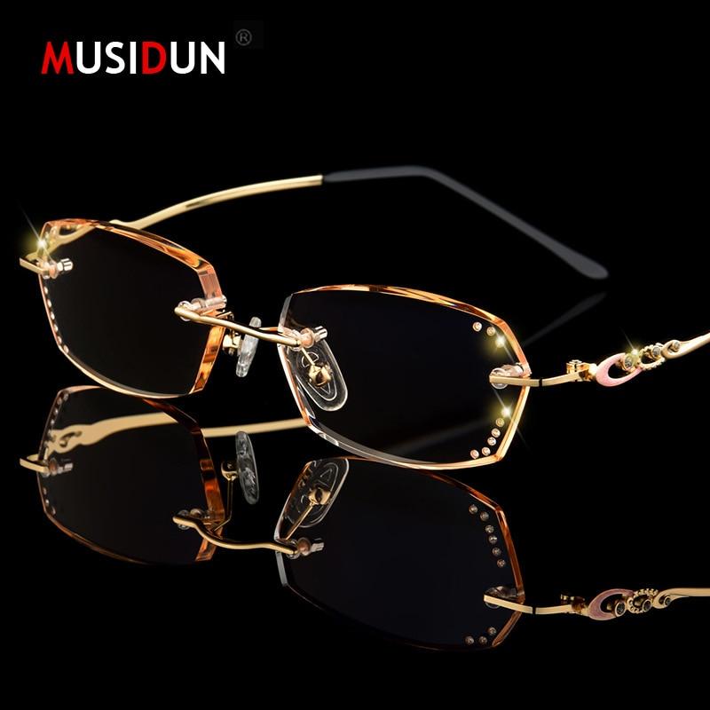 Diamond Trimmed Rimless Reading Glasses Women High Quality Fashion Brand Luxury Anti-blue light Presbyopic Lady Eyeglasses Q104