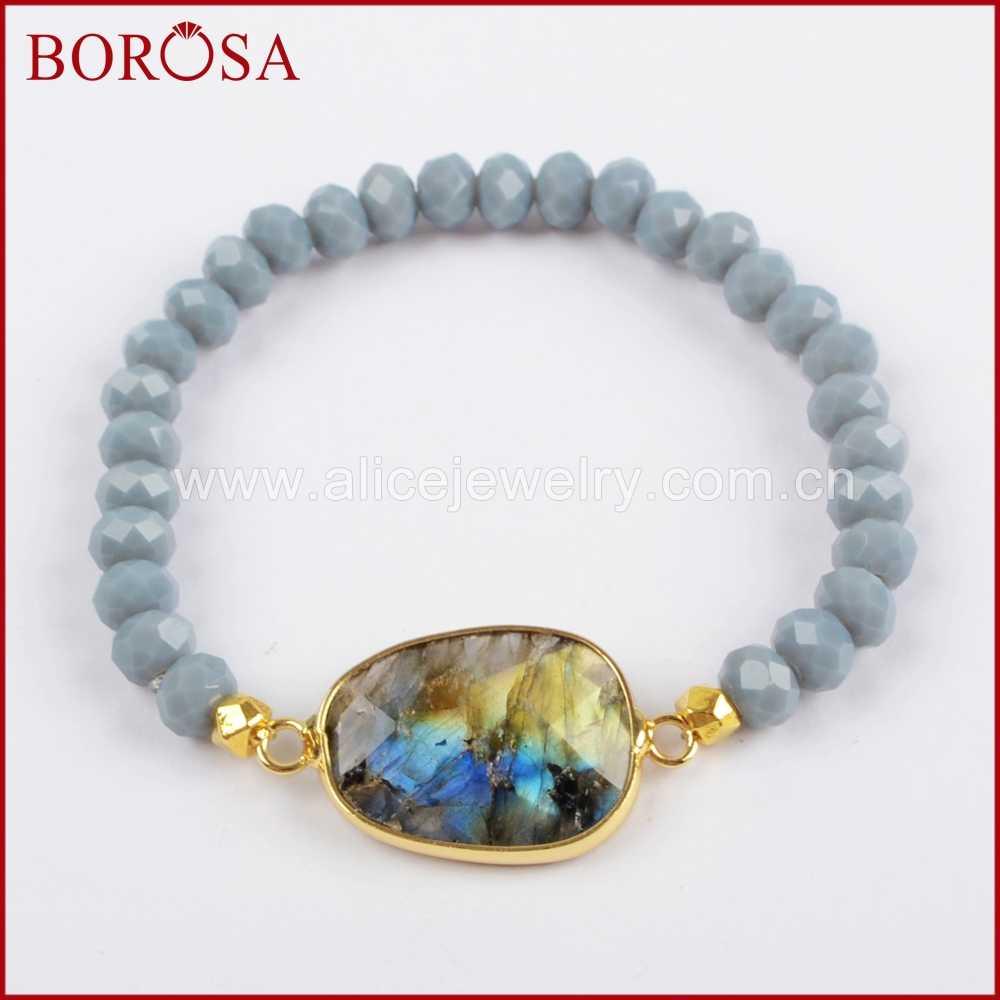 BOROSA 1 ชิ้นทองสี Labradorite สีขาว Lapis Lazuli คริสตัล Faceted สร้อยข้อมือ 6 มม.ลูกปัดแก้วคริสตัลกำไลข้อมือ G1406