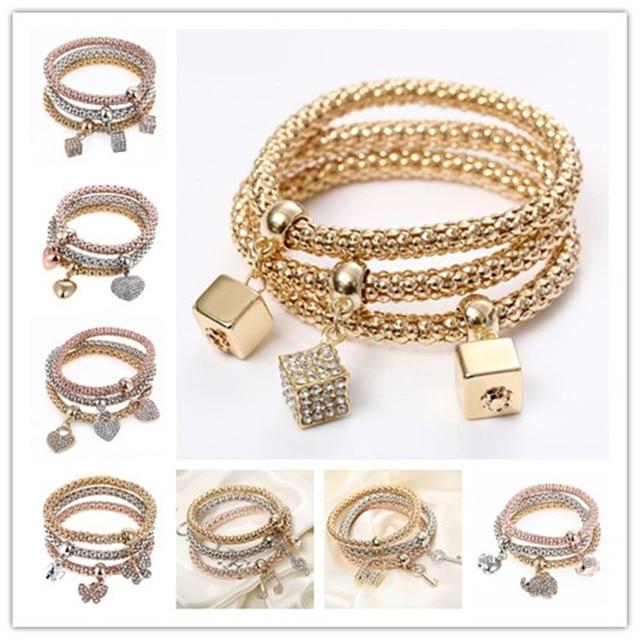 3Pcs/set Multilayer Bracelets Gold/Silver Filled Butterfly Music Note Love Charm Bracelet Pulesira Pendant Valentine's Day gifts