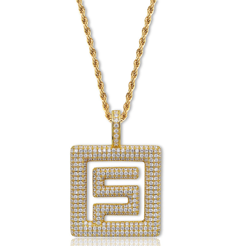 Hiphop New Fashion migos Necklace Cubic Zircon symbol Pendant Necklace Stainless Steel Chain Iced For Male Women dropshipping