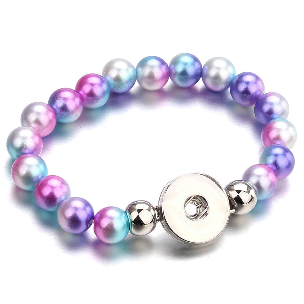 New Colourful Snap Jewelry 10MM Simulated Pearl Beads Bracelets Female 18mm Snap Bracelets Bangle For Women Snap Button Bracelet
