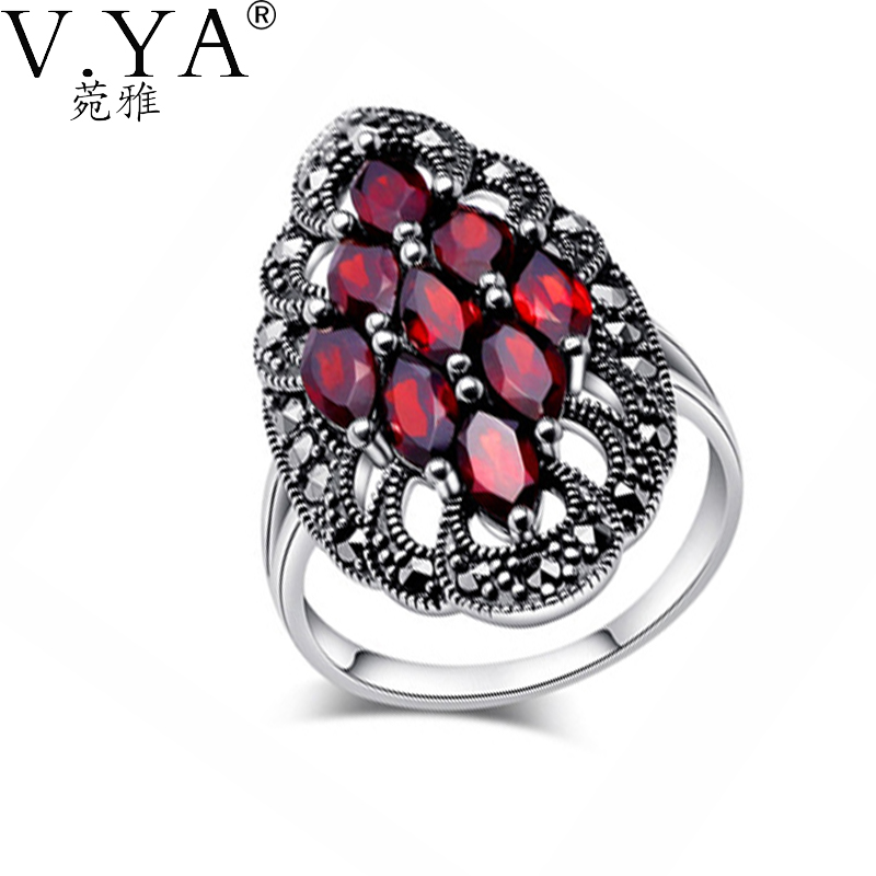 100 Real Pure 925 Sterling Silver Ring Classic Garnet Rings for Women Wide Party Fine Jewelry