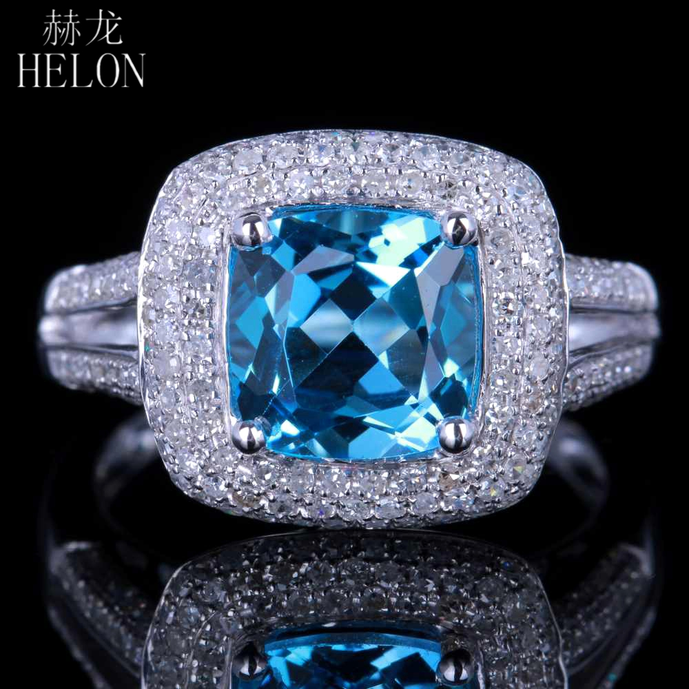 HELON 8mm Cushion Cut Blue Topaz Solid 14K White Gold Pave Natural Diamond Real Engagement Wedding Ring Party Fine Jewelry Ring solid 14k rose round 13mm gold diamond natural blue topaz ring wedding ring hot sale