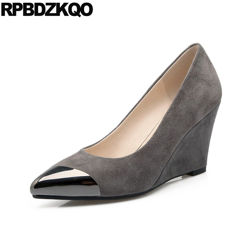 Gray 2017 Pointed Toe Metal Office Wedge Shoes Ladies 3 Inch Work Women Elegant Size 4 34 Suede High Heels Chinese Spring women high heels pumps office nude shoes 3 inch formal elegant ladies size 4 34 slip on 2017 work court female chinese autumn