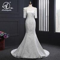 Винтаж Элегантное свадебное платье длинное свадебное платье 2018 Vestidos de novia Русалка труба белый кружевное с рукавом до локтя платье для невес
