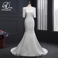 Vintage Elegant Wedding Dress Long Bridal Gown 2018 Vestidos de novia Mermaid Trumpet White Lace Half Sleeves Dress For Bride
