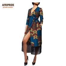 2018 african clothing summer women dress AFRIPRIDE three quarter sleeve  calf-length women casual dress 831c5fb396b6