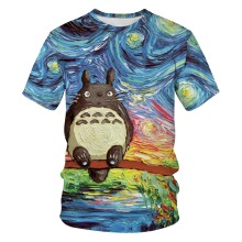 Japan Movie Tonari no Totoro 3D Print Oil Painting Tshirt Men/women Casual Streetwear Tees T shirt Boys Kawaii Tshirt Clothes men ink painting print tshirt
