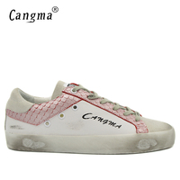 CANGMA Retro Mens Shoes High Quality Casual Shoes Men Sneakers Handmade Genuine Leather Suede White Youth Shoes Footwear Male