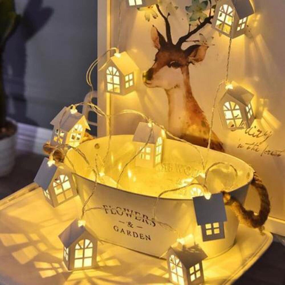 Simple 1.5M 10pcs LED Christmas Tree House Style Fairy Light Led String Wedding Natal Garland New Year Christmas Decorations