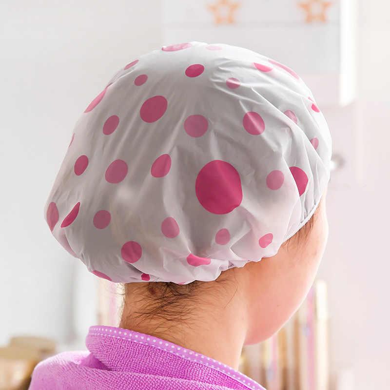 1 ADET Renk Rastgele Nokta Su Geçirmez Duş Başlığı Kalınlaşmak Elastik Banyo Şapka Banyo Kap Kadınlar için Saç Salon Banyo Ürünleri saç bonesi