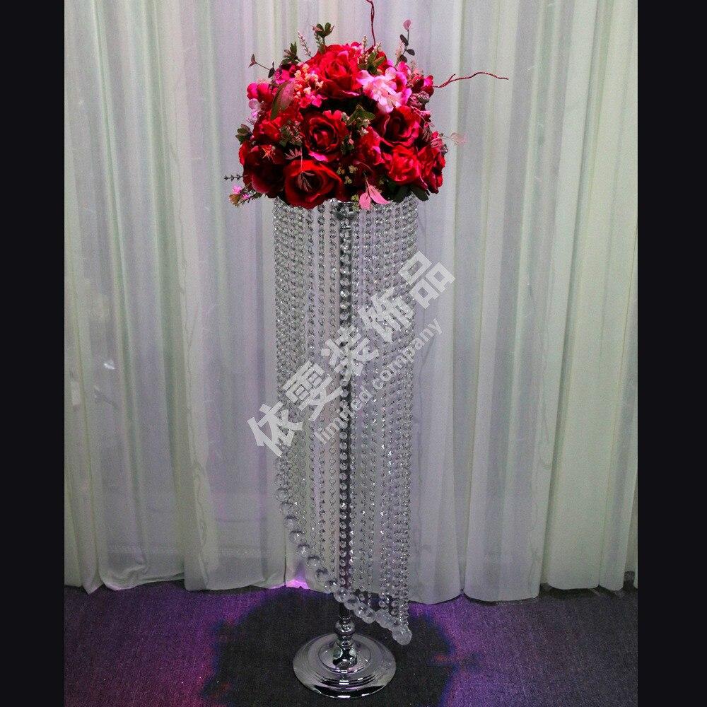 120 CM par Dia.25cmTall/10 pièces Lot/support de pièce maîtresse de mariage acrylique/candélabre de mariage/piliers de mariage/plateau de fleur 25 cm
