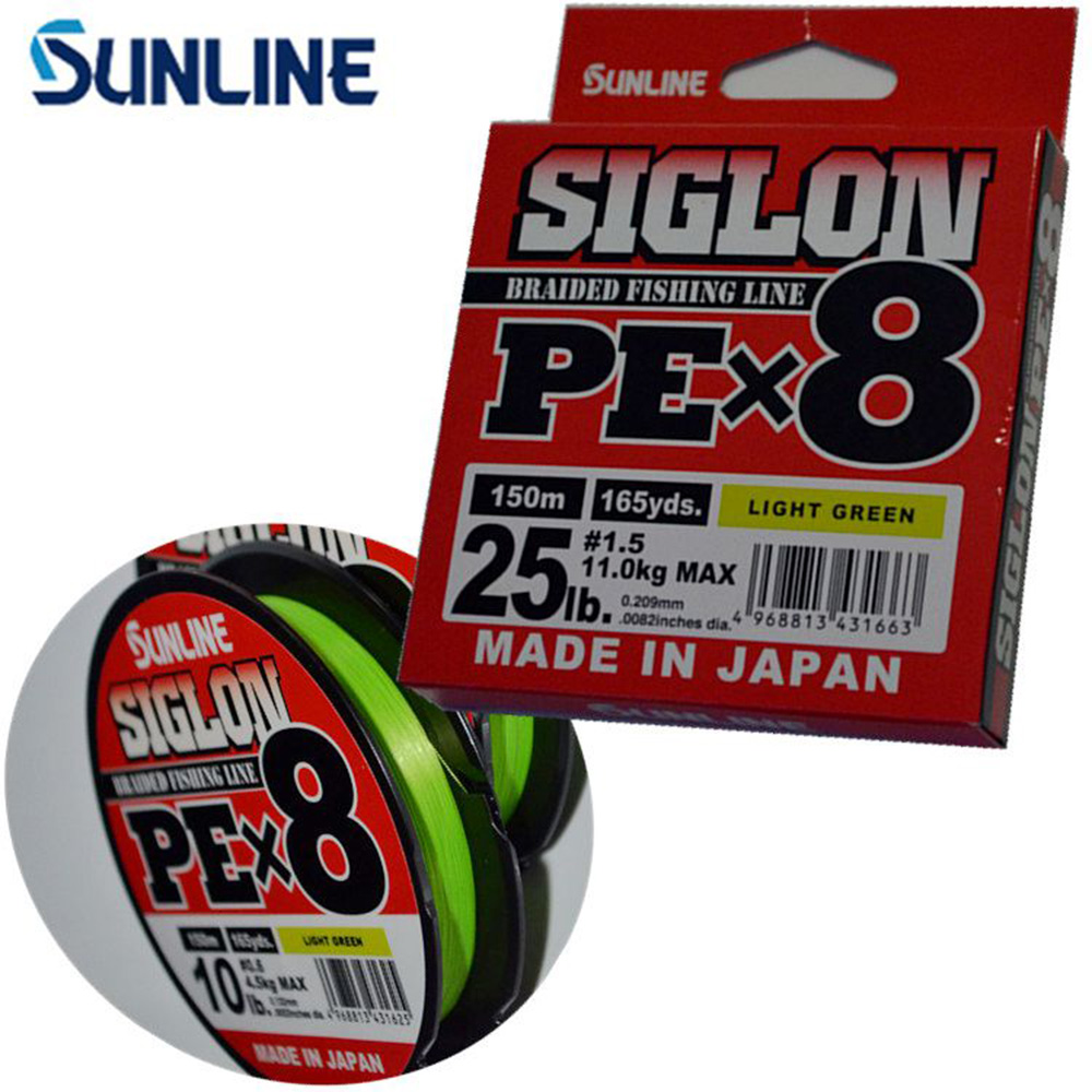 100% Original SUNLINE SIGLON PE 8 Strands 150M/165Y Light Green Braided Fishing Line Made in Japan Suitable for Many Methods цена