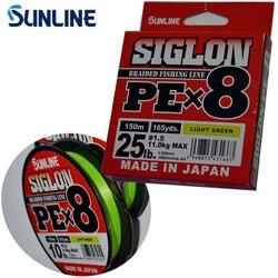 100% Originale SUNLINE SIGLON PE 8 Fili 150 M/165Y Luce Verde Intrecciato la Linea di Pesca Made in Japan Adatto per Molti Metodi