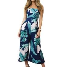 Без бретелек Женщины комбинезон длинные брюки женские широкие брюки комбинезоны штаны пляжные с открытыми плечами облегающий костюм с цветочным принтом WS390Z