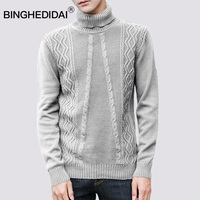 Christmas Sweater Men Turtle Neck Sweater For Men Winter Warm Black Cotton Youth Men Fashion Knitted