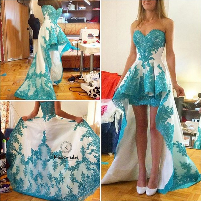 Hot Sale   Prom     Dress   Short Front Long Back vestidos de fiesta Aweetheart Neckline Appliqued Party Evening Dresess