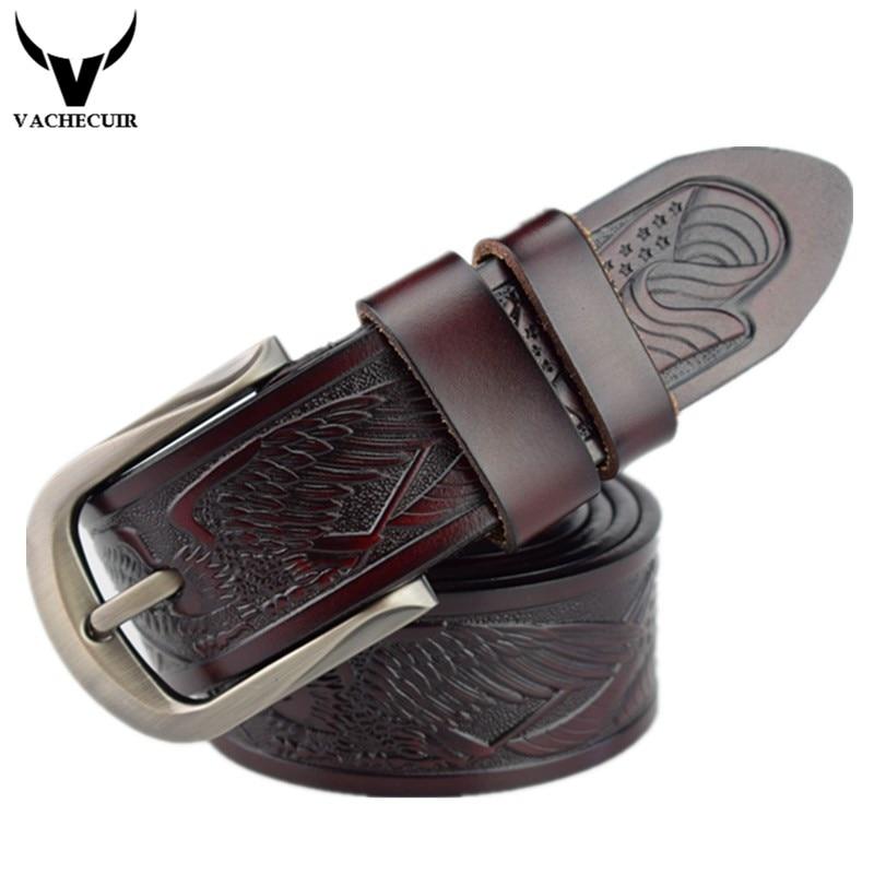 VACHECUIR Belt 2017 Fashion Cowhide Leather men belt Designer Luxury High quality Pin buckle men Belts