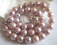 P1063 AAA 17 11 12mm natural purple round freshwater pearl necklace 925 s