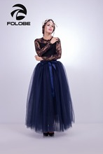 FOLOBE Stock Navy Blue Maxi Tulle Skirts Womens Fashion TUTU Skirt Wedding Bridal Skirt Wedding Lolita Underskirt Petticoat