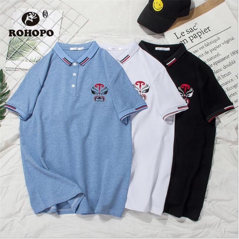 ROHOPO China Style Mask Embroidery Man   polo   Shirt Vintage Peking Opera Face Male Summer Short Casual Cotton   Polo   Shirts Male